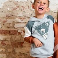 Sweat Pullover mit Kapuze Weltall grau meliert