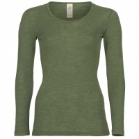 Wolle Seide Damen Langarmshirt oliv-grün