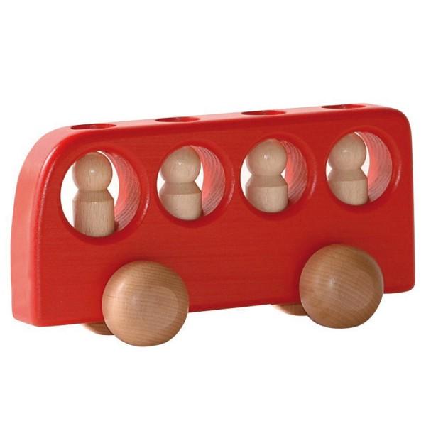 Bus mit 4 Männlein rot Holzfahrzeug
