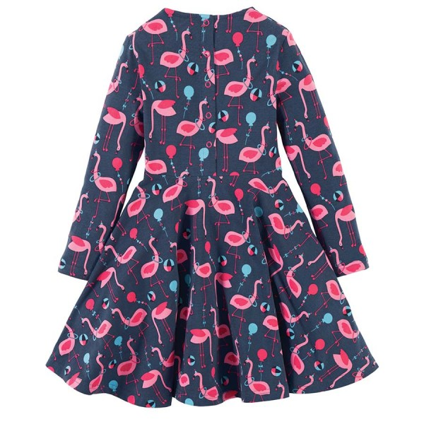 Mädchen Kleid langarm Flamingo | greenstories