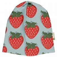 Leichte Beanie Erdbeeren hellblau rot