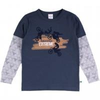 Fahrrad Langarmshirt 2-in-1-Look dunkelblau