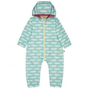 Ungefütterter leichter Baby Overall Krokodile mint