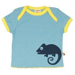 Loud and Proud Bio Shirt Ringel mit Geckos blau