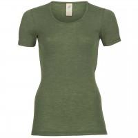 Wolle Seide Damen kurzarm Shirt oliv-grün