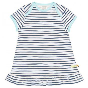 Streifen Kleid kurzarm marine