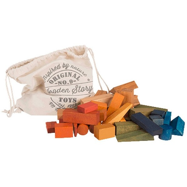 50 pflanzlich gefärbte Bauklötze mit Sack ab 12 Monate