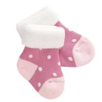 Rosa Frottee Babysocken gepunktet