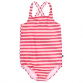 Mädchen Badeanzug koralle Streifen weiß