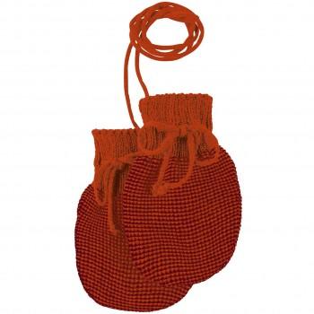 Baby Strickhandschuhe aus Schurwolle orange-bordeaux