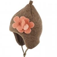Wintermütze Blume Fleece innen Biobaumwolle walnuss