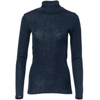 Damen Wolle Seide Rollkragenshirt dunkelblau