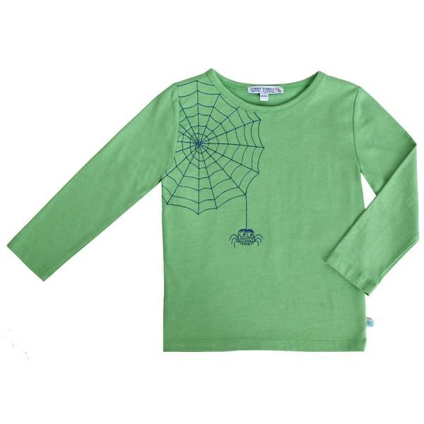 Spinnennetz Shirt Stickerei super edel blau