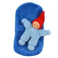 Vorschau: Wichtel mit Rassel im Schlafsack - blau