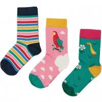 Kinder Socken 3er Pack Papagei rosa