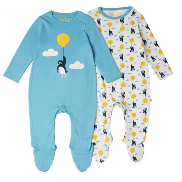 Bio Babystrampler mit Fuss im günstigeren 2er Pack - neutral