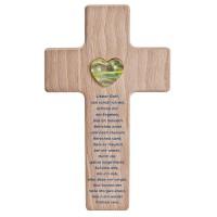 Holzkreuz mit Glasherz und Gebet zur Taufe