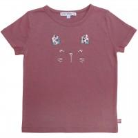 Shirt kurzarm Katzengesicht in malve