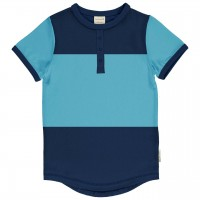 Blaues T-Shirt Slim Fit im Block-Design
