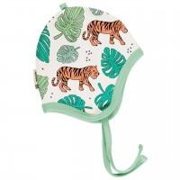 Babymütze leicht mit Ohrenschutz Jungle in hellgrün