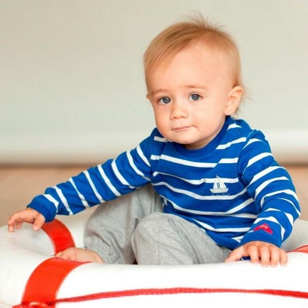 Bio Kinderlangarmshirt für Jungen mit Druckknöpfen blau