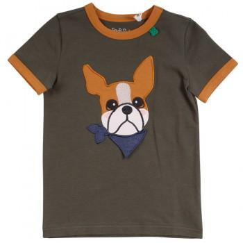 Hunde Shirt kurzarm Aufnäher in khaki