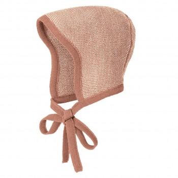 Strick Häubchen Schurwolle rosa