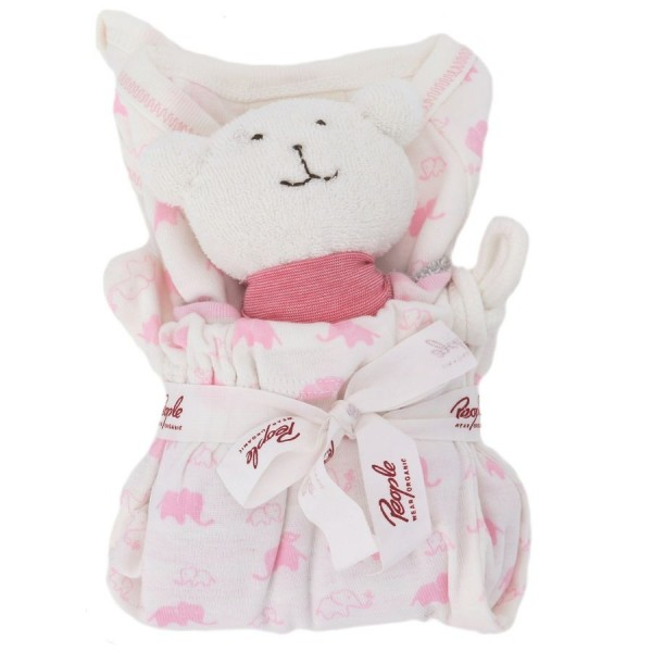 Geschenkset 3 tlg Bio Body Schmusetuch incl. Tasche rosa