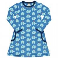 Leichtes Kleid Elefanten blau langarm