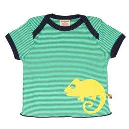 Loud and Proud Bio Shirt Ringel mit Geckos grün