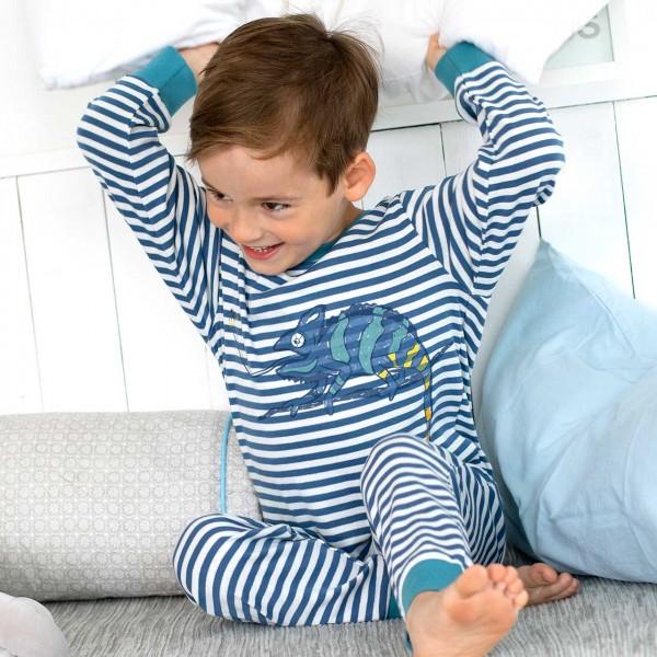 Leichter Jungen Schlafanzug Ringel blau