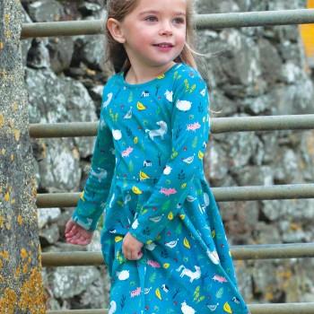 Mädchen Kleid langarm mit Farmtieren helles petrol