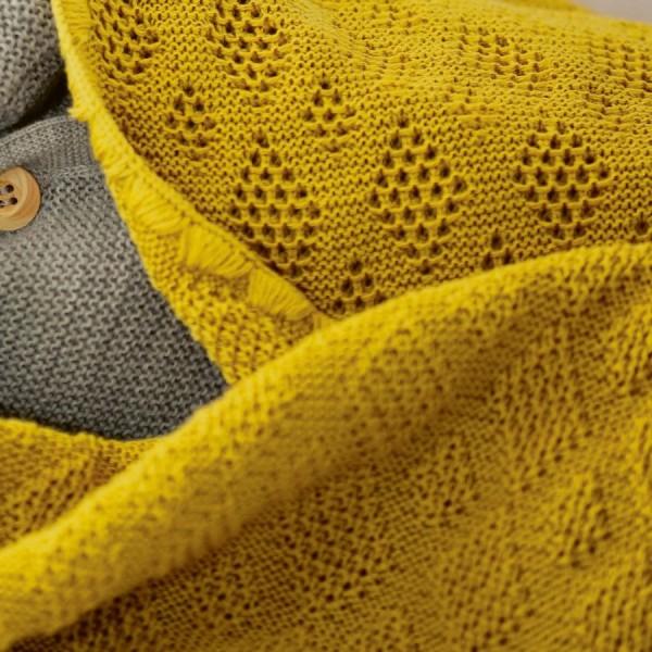 Leichte Babydecke Wolle Bio 80x100 cm senf