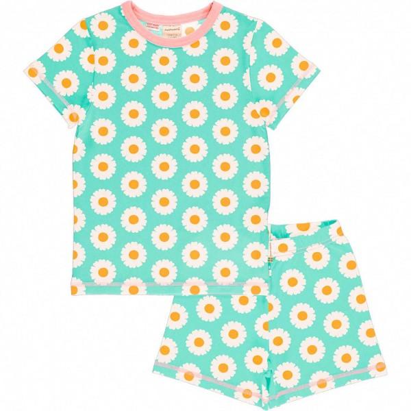 Sommer Schlafanzug Gänseblümchen hellblau