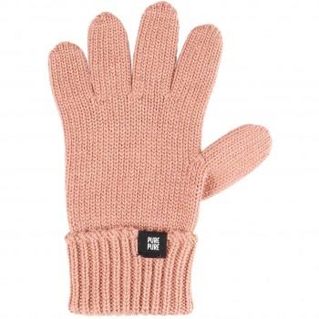 Fingerhandschuhe Umschlagbund Wolle Seide altrosa