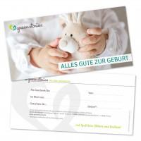 Geschenkgutschein zur Geburt - mit pflanzenfarben bedruckt