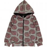 Kapuzenjacke rosa Rosen in grau