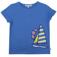 Edles T-Shirt Segelboote Aufnäher in blau