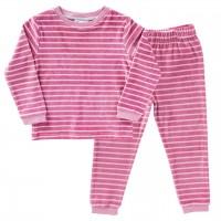Warmer Nicki Schlafanzug beere geringelt