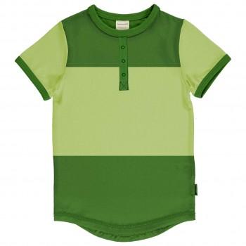 Grünes T-Shirt Slim Fit im Block-Design