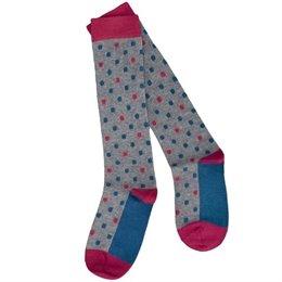 Öko Kniestrümpfe für Kinder aus Feinstrick - grau petrol pink