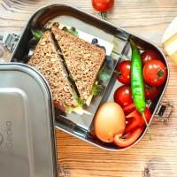 Edelstahl Brotdose auslaufsicher & flexibel teilbar - 1400ml