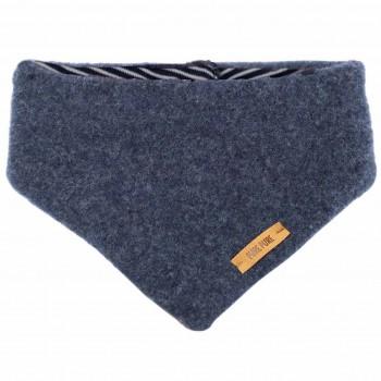 Dickes Wolle Halstuch jeans-blau mit Druckknopf