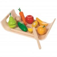 Holz Obst + Gemüse zum Schneiden auf Tablett
