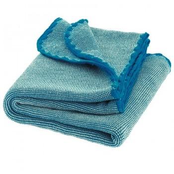 Babydecke Wolle Melange blau natur 80 x 100 cm