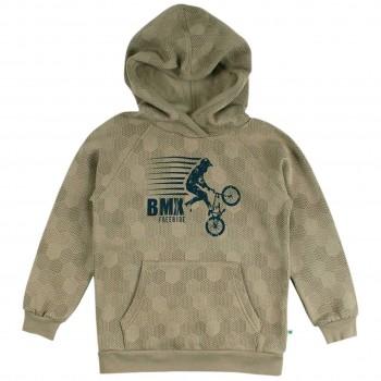 Sportlicher Sweat Pullover Kapuze moosgrün