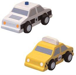 Holzfahrzeuge Taxi & Polizei für Straßensystem