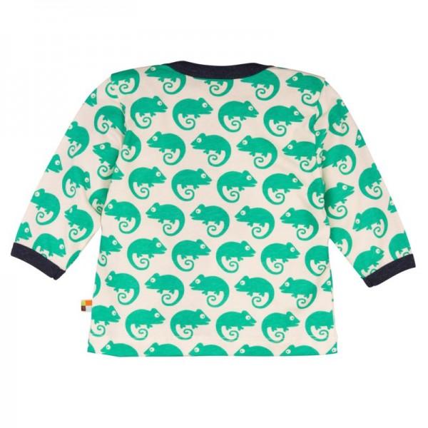 Loud and Proud Bio Shirt langarm mit Geckos grün