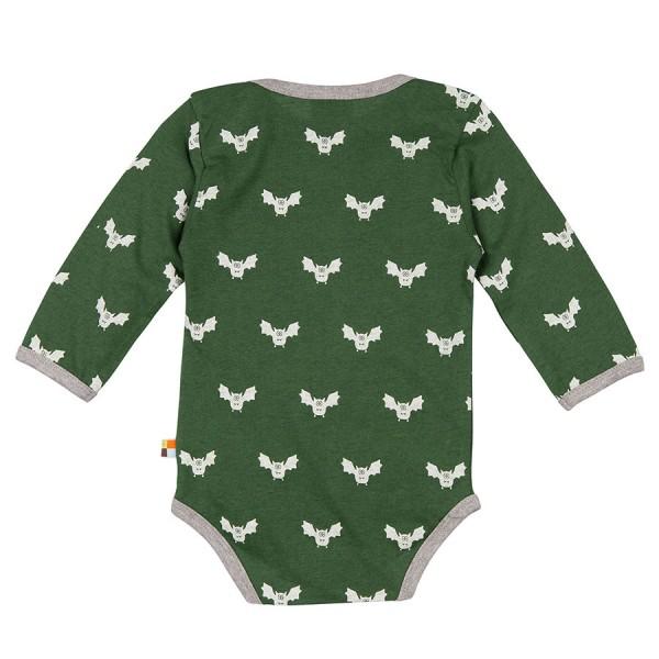 Wolle Baumwolle Body Fledermaus grün