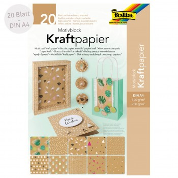 Motivblock Kraftpapier – 20 Blatt Motivpapier & -karton